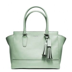 Coach Candace Carryall Leather Tote Mint Color